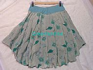 Green Flower Ice Dance Skirt Back View