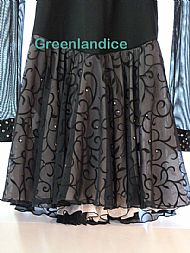 Lexie/Lisa design in Black/Champagne Skirt Close