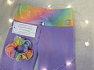 Rainbow Lilac leggings close up