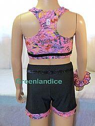 Black shorts & Crop Top Back View
