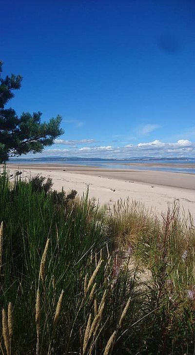 nairn beach photographed from the sand dunes