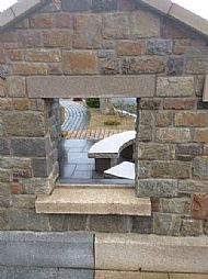 guillotined mixed granite walling