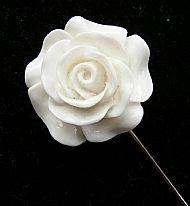 D1 WHITE ROSE LAPEL PIN