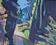 painting of trees set in a sculptured landscape great comp graden kent. copyright (c)2014 alan watson all rights reserved