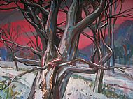 tree set against now covered landscape and dramatic red sky, alan watson, all rights reserved, 2012.