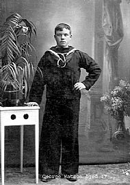 a young sailor in uniform in a formal photo circa 1917, copyright (c)gowans/watson family photograph archive