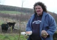anne chance with eggs, neaps and shetland cattle