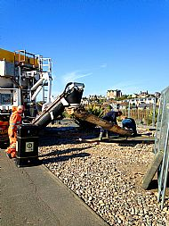 Pouring the concrete at the Wave Garden -- 04 May 2017.  Photo by Julie Lomax.