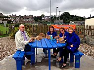Horizon members celebrating completing the Wave Garden re-vamp with fish & chips -- 05 September 2017.  Photo by Julie Lomax.
