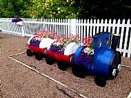 Station barrel-train Summer floral display -- 08 July 2017.  Photo by Julie Lomax.