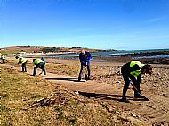 Clearing sand from the boardwalk after a storm -- 20 March 2018. Photo by Julie Lomax.