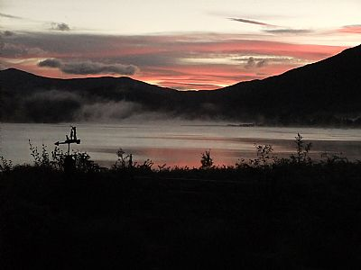 image of a gorgeous sunrise taken from one of bays and bens holiday lets and cottages, airds bay, taynuilt, nr oban, argyll, scotland