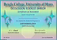 Beagle College Certificate