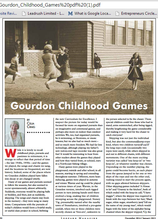 gourdon childhood games article in leopard magaine