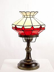 Tiffany HBR1 red and blue oil lamp