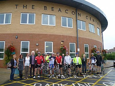 hinkley point a cyclists outside the beacon centre