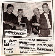 Buskateers photographed in The Doncaster Entertainer for making it through to the finals of the Radio 2 national buskers competition in Birmingham 1996!