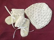 Baby Hat and Bootees in White