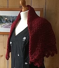 Red Shetland Wool Square Shawl