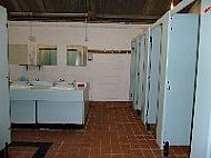 Interior of shower and toilet block