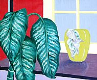 Leaves and Vase by Window