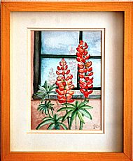 Lupins by a Window