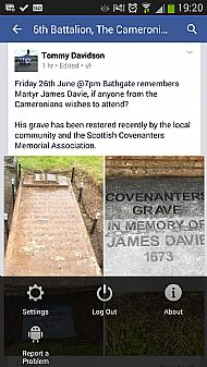 James Davie, Bathgate, New memorial.