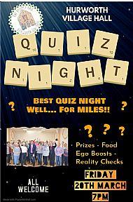 Village Hall Quiz Night 7pm 20th March