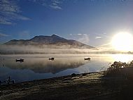 image of airds bay moorings in early morning looking towards ben cruachan