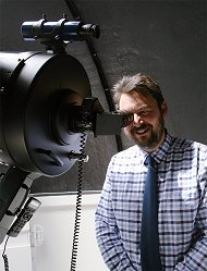 "maarten de vries at the eyepiece of the 14"" telescope of the highlands astronomical society"