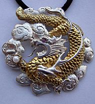 Dragon pendant in silver & gold