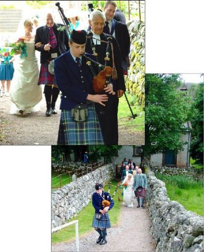 wedding piper alasdair turner playing for a wedding at croik church.