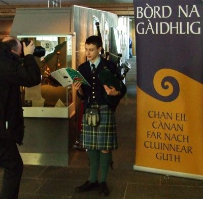 promoting the college of piping's gaelic tutor book at the culloden visitor centre