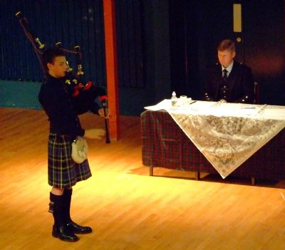 alasdair turner starting the piobaireachd  competition at the highlands and islands young piper of the year.