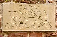 stone engraving of miller's maxim - 'make a right use of your eyes'