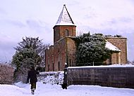 the gaelic chapel in the snow