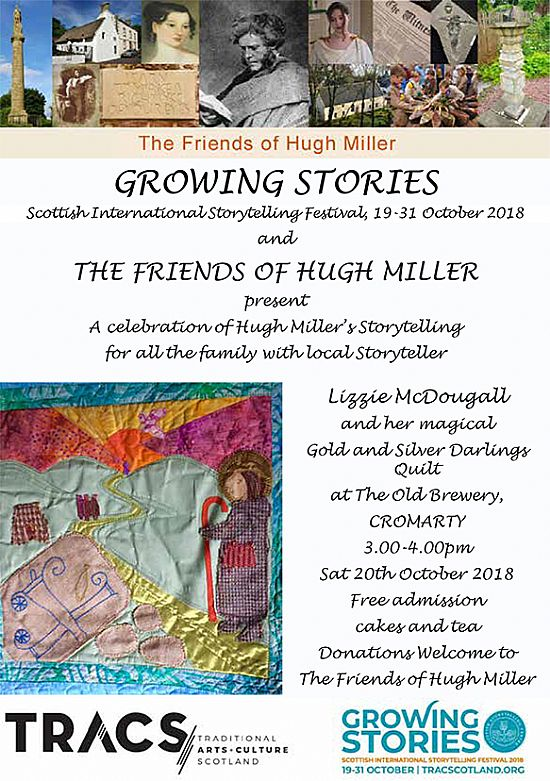 poster for hugh miller stories, saturday 20 october 2018, the old brewery, cromarty 3-4pm