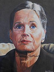 acrylic portrait painting of ingrid bergman by david paterson