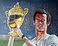 wimbledon champion andy murray poirtrait painting by david paterson