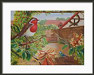 framed honey birds painting by david paterson