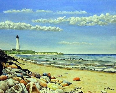 lossie lighthouse oil on canvas painting by david paterson