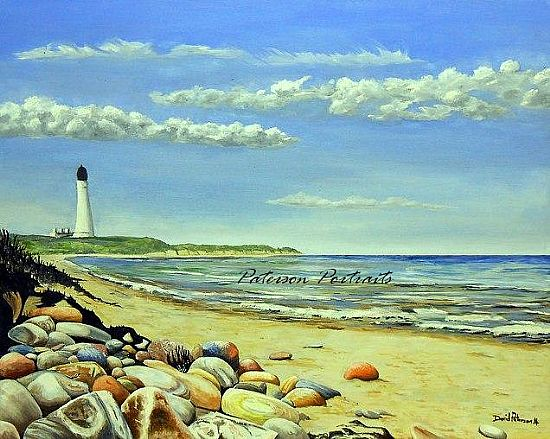 oil painting covesea lighthouse by david paterson