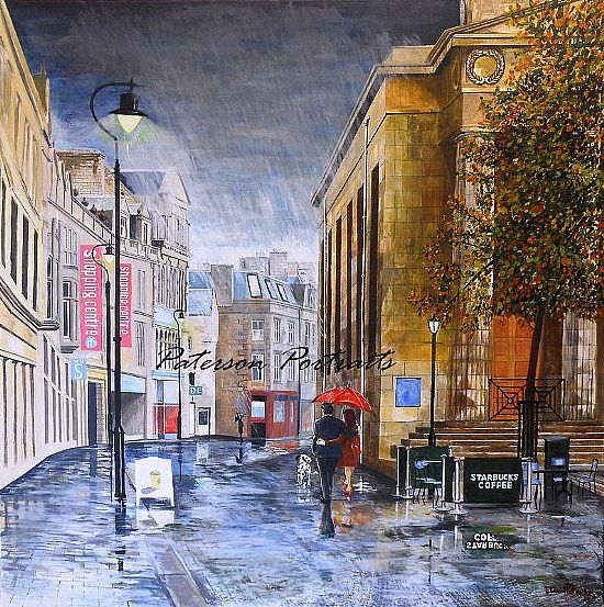 rained romance oil paintingby david paterson