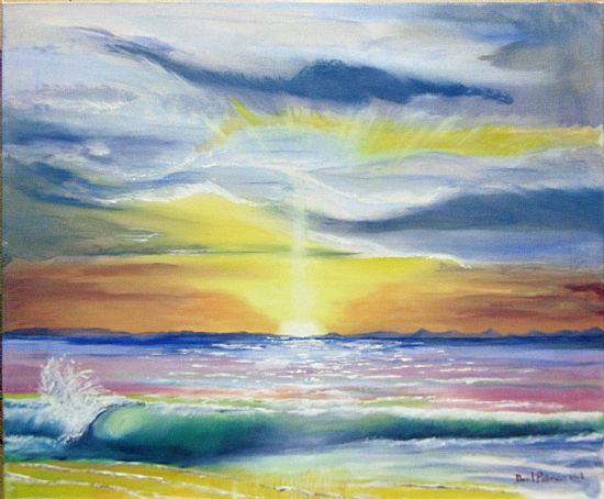 oil painting of sunset at lossie east beach by david paterson