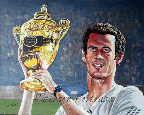oil portrait of andy murray wimbledon champion by david paterson