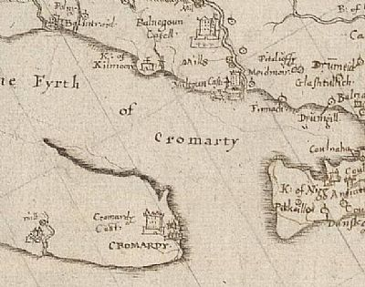 1590 map showing cromarty and the cromary firth