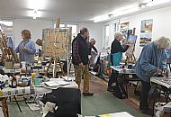 tutor david tress with art students