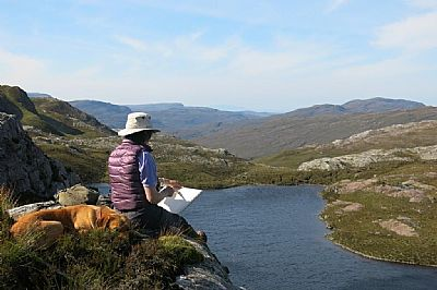 gillian sketching in wester ross
