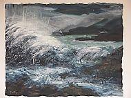January: High Wind Loch Kishorn, mixed media