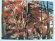 April: Copper beech, Spring, mixed media